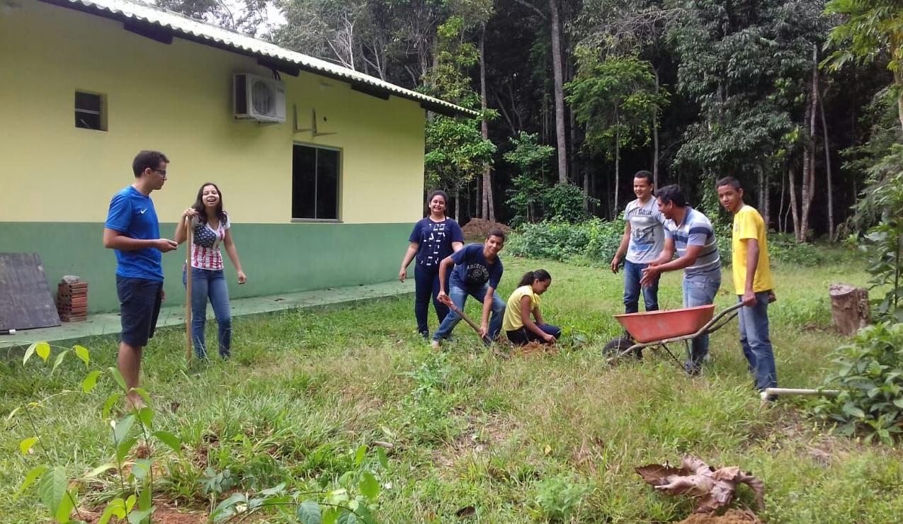 Jovens plantam árvores frutíferas